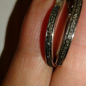 Jewelry - Black Diamond Sterling Earrings